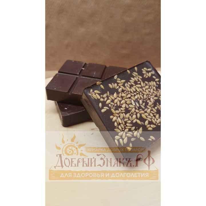 Натуральный шоколад на меду с белым льном, на вес